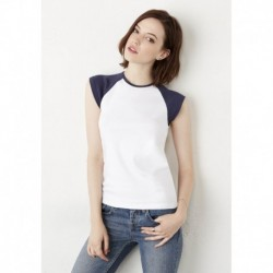 CAP SLEEVE RAGLAN T-SHIRT  T-SHIRT BASE-BALL MINI-MANCHES